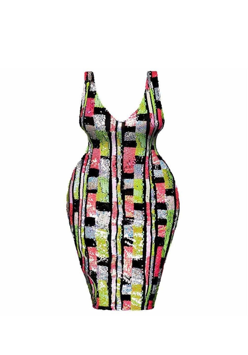 Sasha Black, Pink & Lime Sequin Midi Dress
