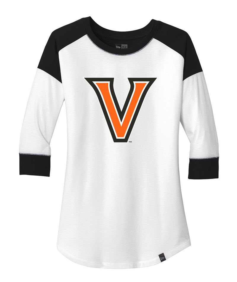 Orange V Womens New Era Heritage Raglan Tee