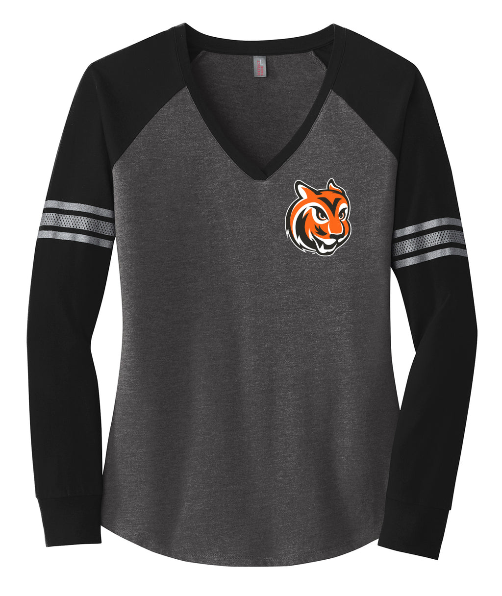 Tiger Head Womens V-Neck Long Sleeve Tee