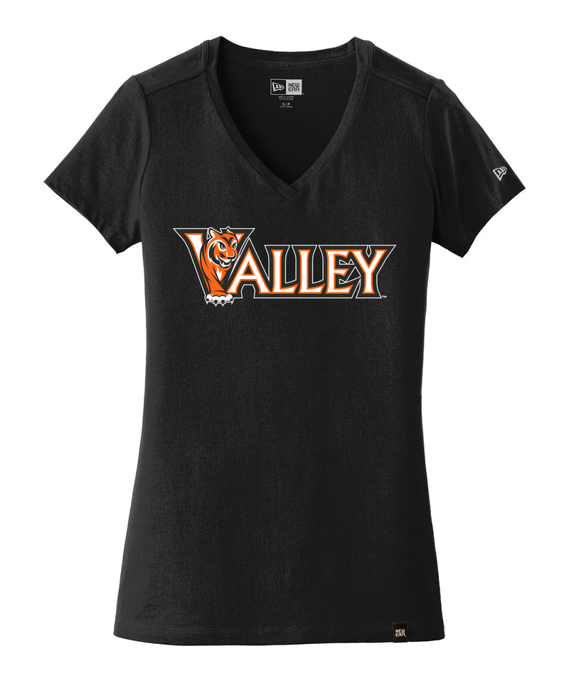 Valley Wordmark Womens New Era Heritage V-Neck Tee