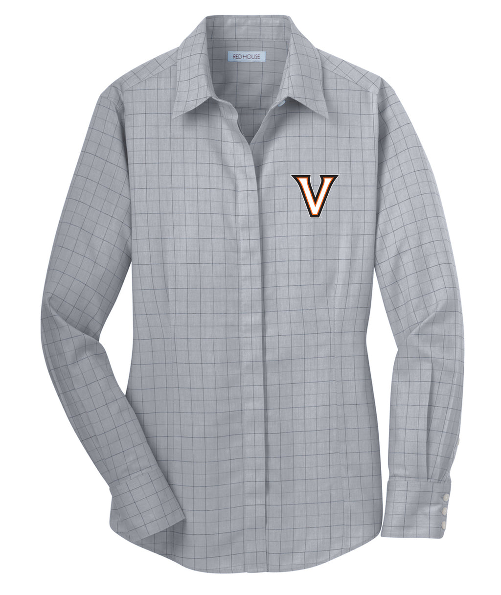 Valley V Womens Plaid Dress Shirt
