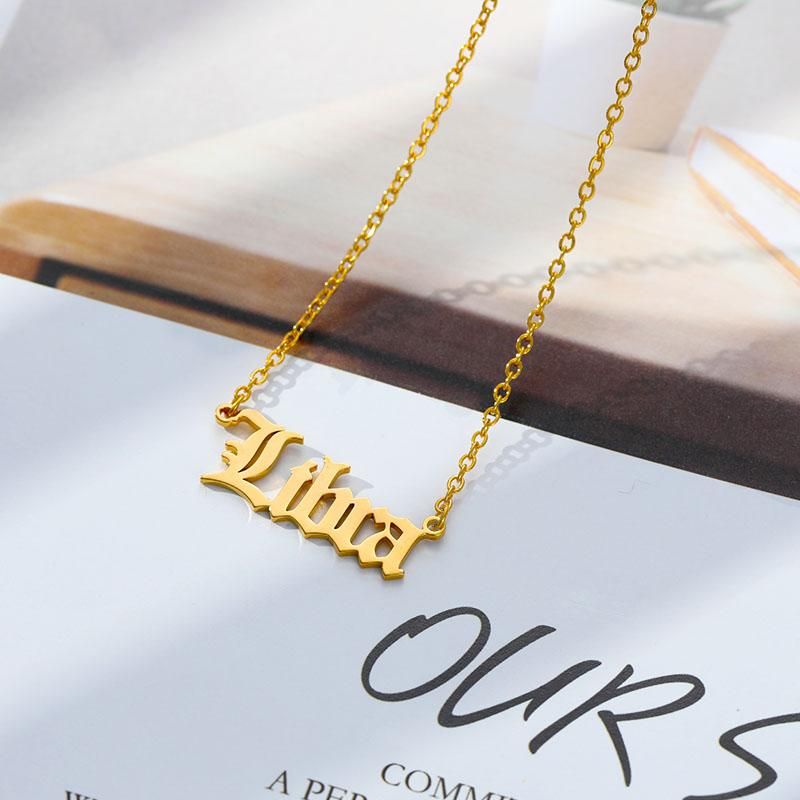 "17"" Gold Horoscope Necklace With Stainless Steel Pendant"