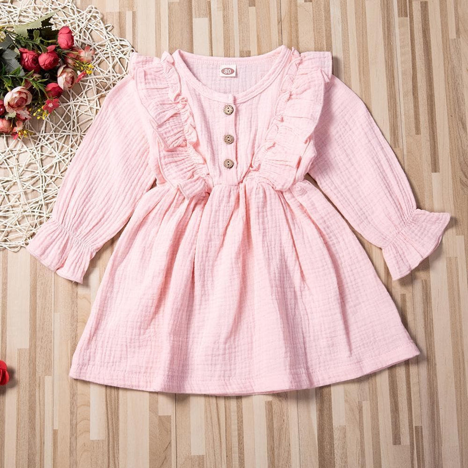 1-6Y Toddler Kids Baby Girl Dress Ruffles Long Sleeve Solid Cotton Linen Party Casual Dress Clothes