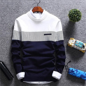Casual Striped Wool Pullover Slim Fit Knitted Sweater For Men
