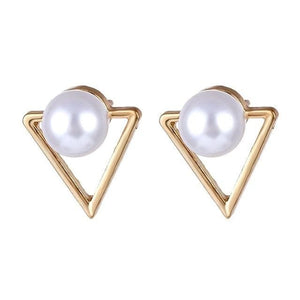 Geometric Gold Round Heart Drop Dangle Earring For Women