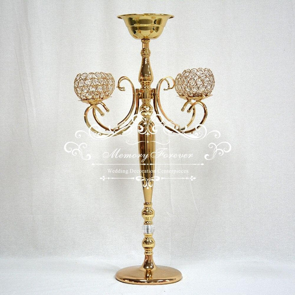 Luxury Vintage Gold and Silver Candle Holder With Flower Bowl