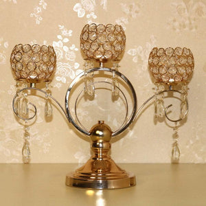 3 Gold Arms Crystal Candelabra Tealight Bowl Holders Stand Wedding Decoration