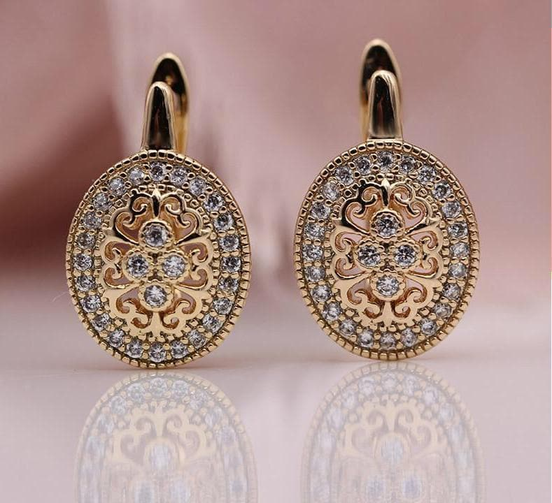 Luxury Natural Micro Rose Gold Zircon Flower Earrings