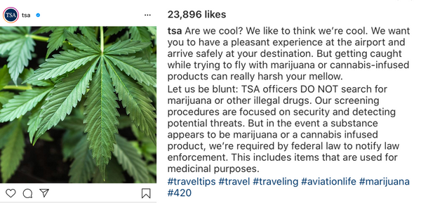 What TSA says about CBD on their Instagram