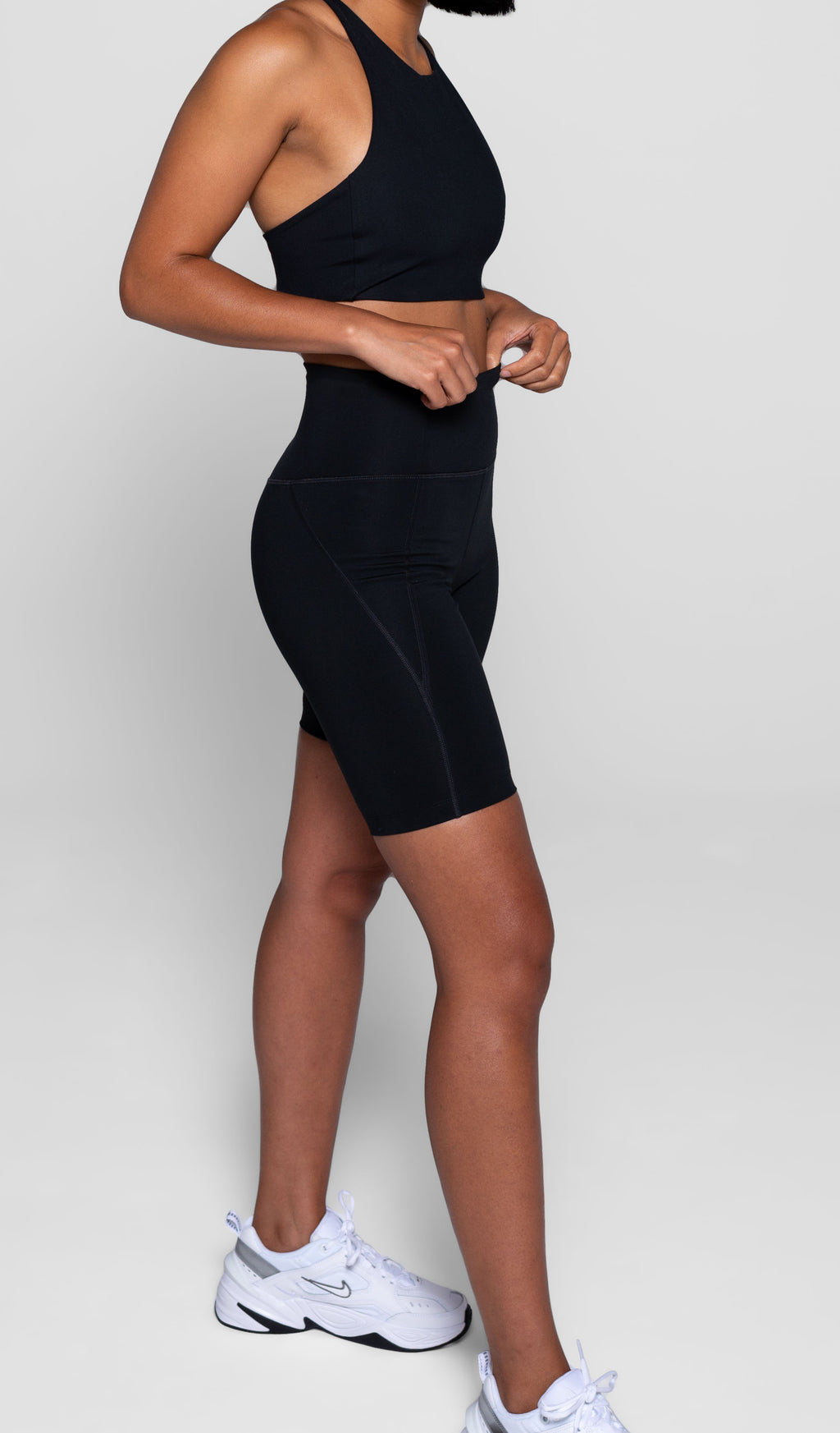 Compressive High-Rise Biker Shorts, Black