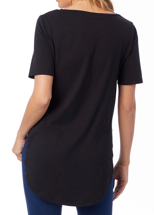 Organic Half Sleeve Tunic, Black