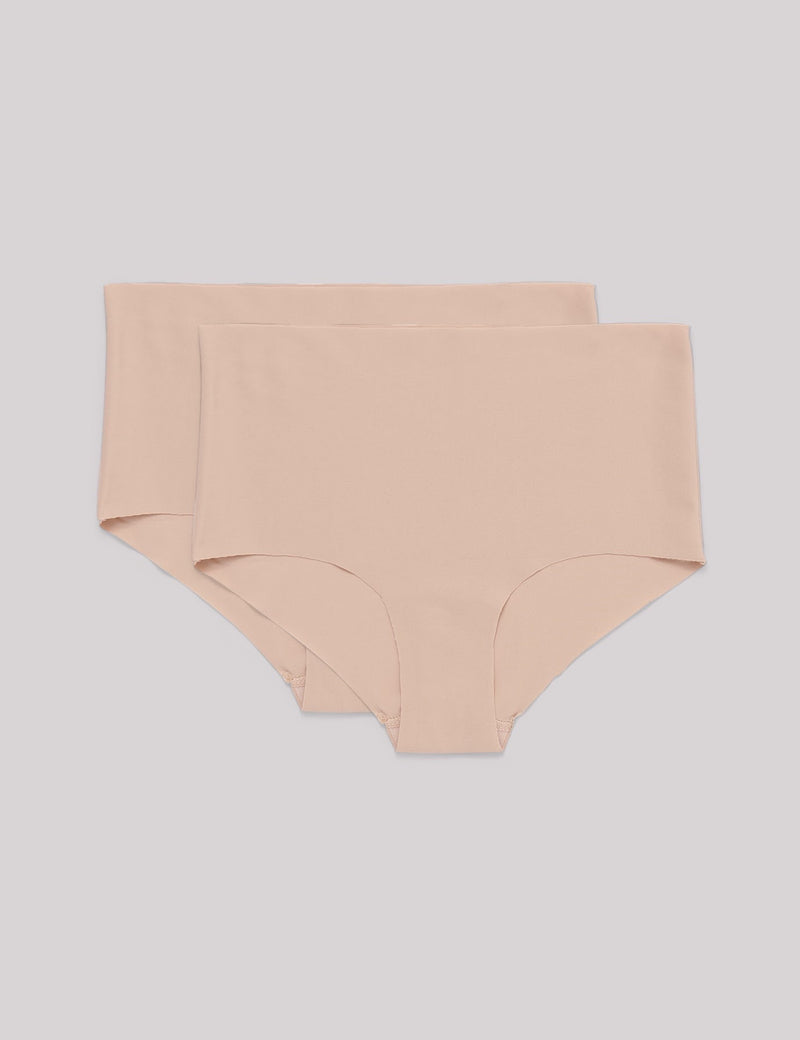 Invisible Cheeky High Rise Briefs 2-pack, Nude