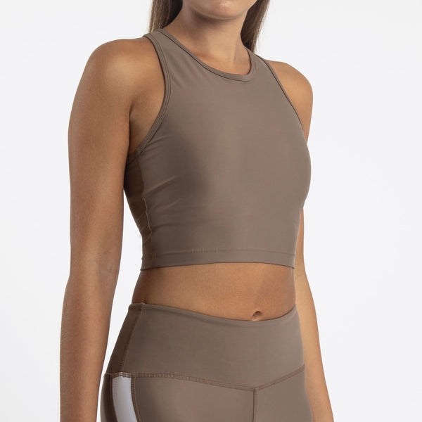 Compression Crop Top, Sand