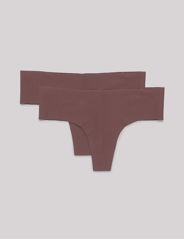 Invisible Cheeky Thong 2-pack, Taupe
