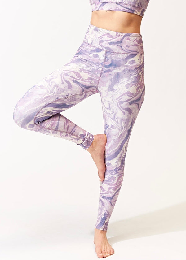 Alex Hi-Waisted Tie Dye Calacatta Print Leggings