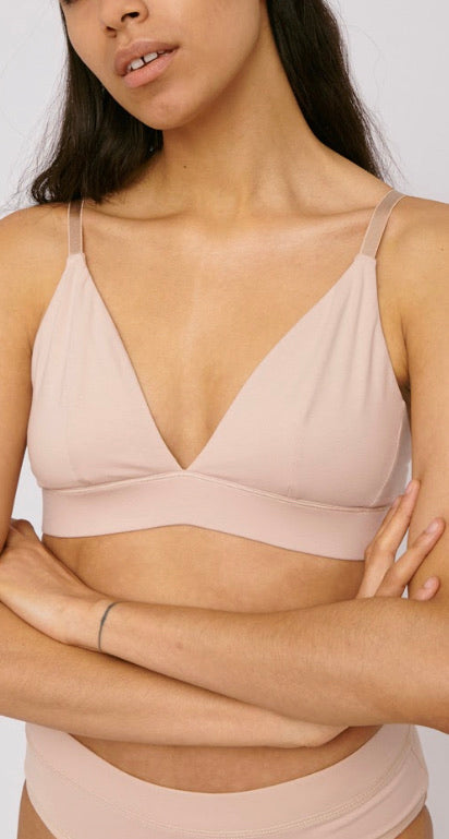 Organic Cotton Triangle Bra, Nude