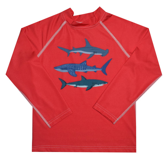 Sharks Red Long Sleeve Rash Guard