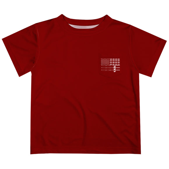 Fishing Red Short Sleeve Tee Shirt With Pocket