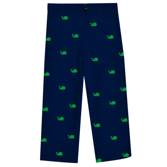 Whales Print Navy Structured Pants