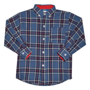 Football Plaid Blue Red and White Button Down Shirt Long Sleeve