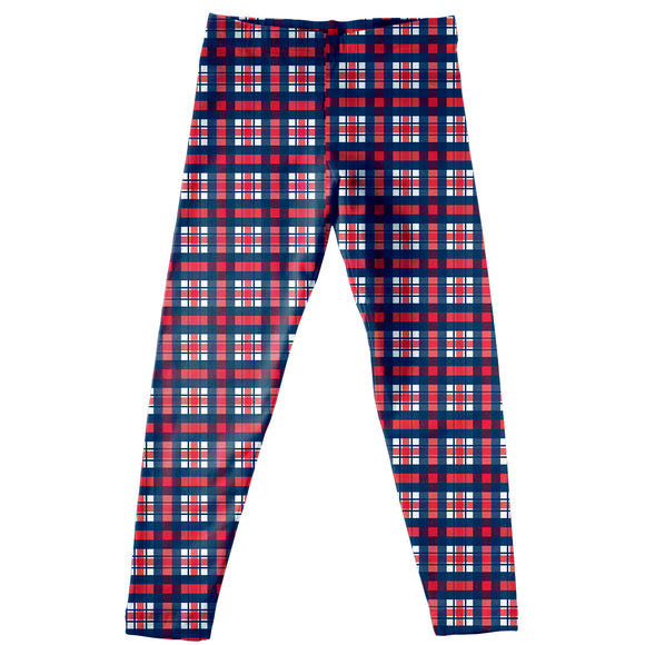 Navy And Red Plaid Leggins