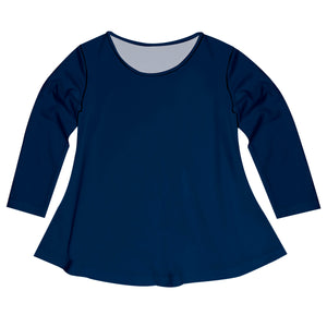 Navy Solid Long Sleeve Laurie Top