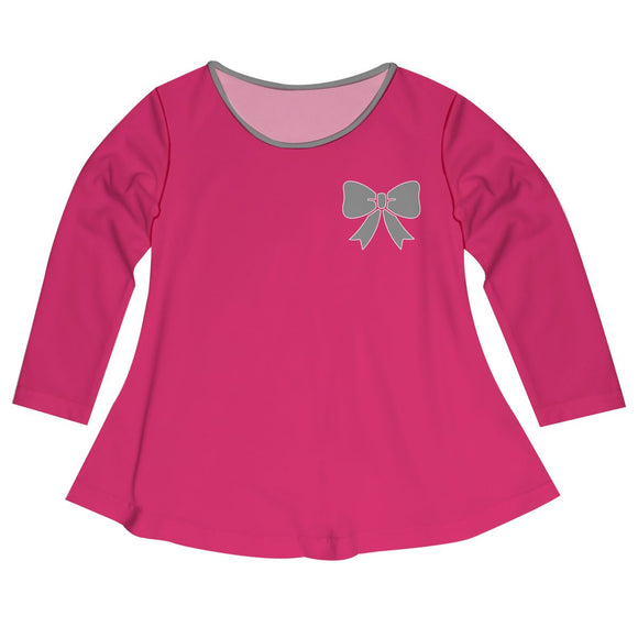Ribbon Hot Pink Long Sleeve Laurie Top