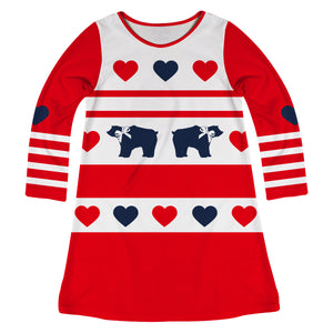 Bears And Hearts Red And White Long Sleeve A Line Dress