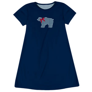 Bear Navy Short Sleeve Girls A Line Dress