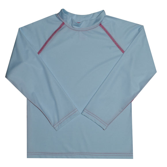 Light Blue Solid Long Sleeve Rash Guard