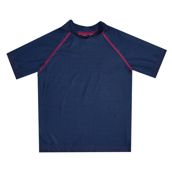 Navy Solid Short Sleeve Rash Guard