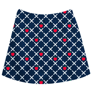Apples Print Navy Skirt