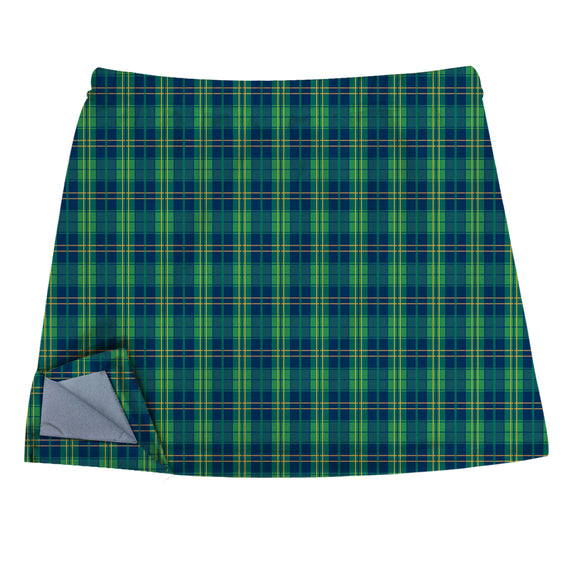 Green Plaid Skirt With Side Vents