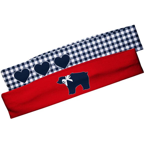 Bear Red And Hearts Navy Check Headband Set