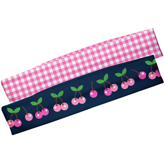 Cherries Navy And Pink Check Headband Set