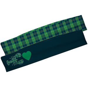 Lobster And Heart Navy And Green Plaid Headband Set