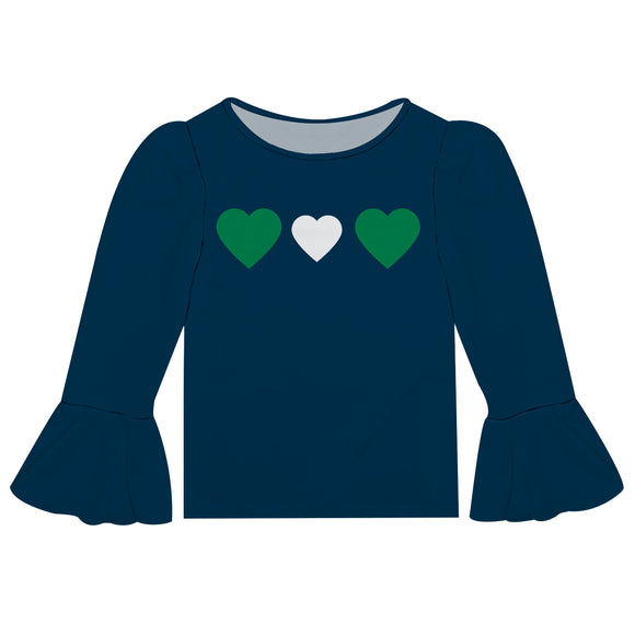 Hearts Navy Long Sleeve Ruffle Top
