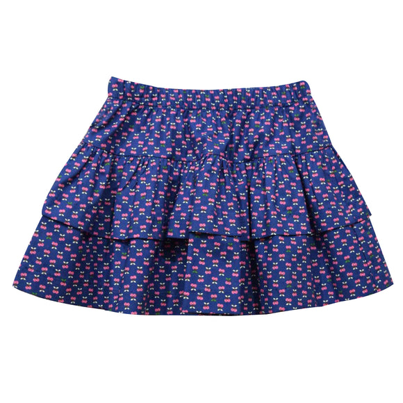 Cherries Print Navy Girls Skirt