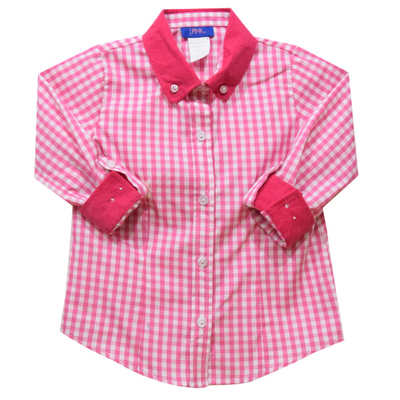 Pink Medium Check Girls Button Down Blouse 3/4 Sleeve