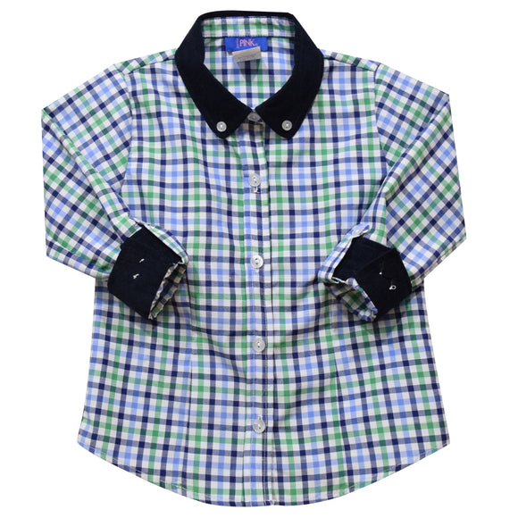 Blue and Green Plaid Girls Button Down Blouse 3/4 Sleeve