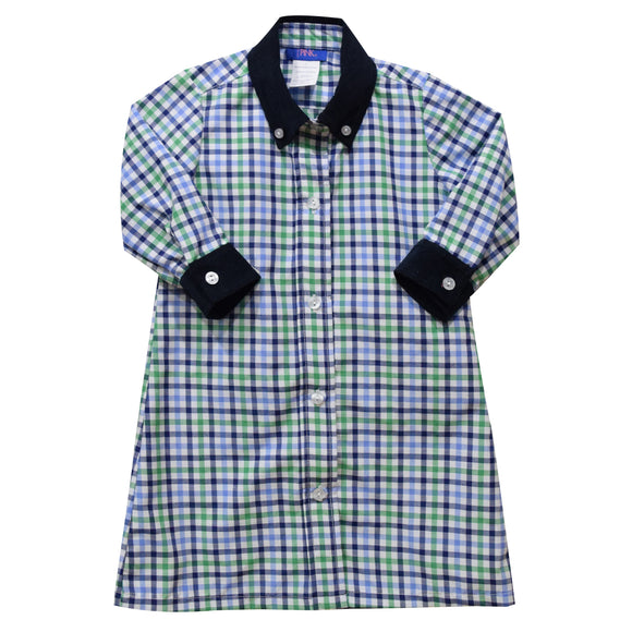 Blue and Green Plaid Girls Shirt Dress 3/4 Sleeve