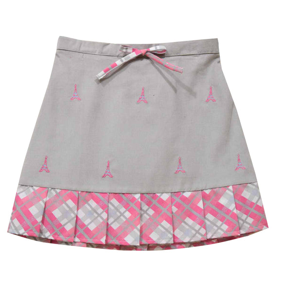 Eiffel Tower Embroidered Gray Corduroy Girls Pleated Skirt