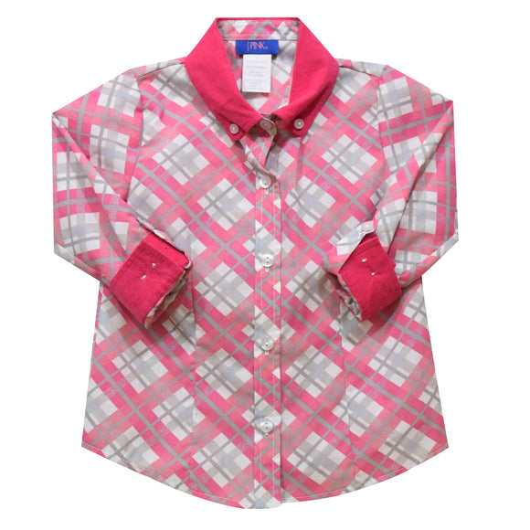 Pink and Gray Plaid Girls Button Down Blouse 3/4 Sleeve