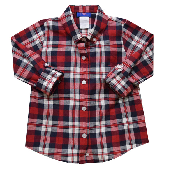 Red and Blue Plaid Girls Button Down Blouse 3/4 Sleeve