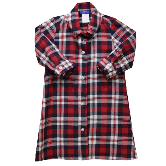 Red and Blue Plaid Girls Shirt Dress 3/4 Sleeve