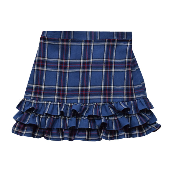 Blue and Red Plaid Girls Ruffle Skirt