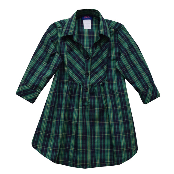Green and Navy Plaid Girls Blouse 3/4 Sleeve