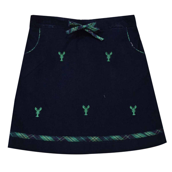 Lobsters Embroidered Navy Corduroy Girls A Line Skirt