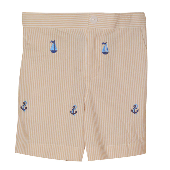 Anchor and Sails Embroidery Tan Stripe Seersucker Boys Structured Short