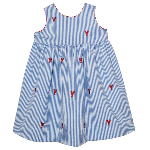Lobsters Embroidered Blue Stripe Sleeveles Wrap Dress